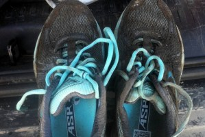 Lara's shoes after pacing at the Big Horn Ultra Marathon