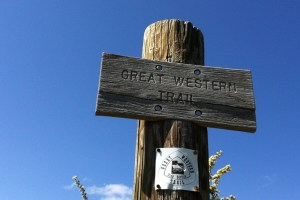 picture of the great western trail sign along the wasatch 100 course