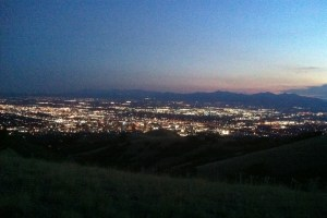 picture of the salt lake city skyline during a night run