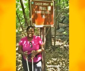 Mirna Valerio with hiking poles