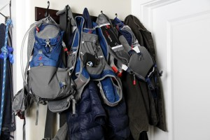picture of ultra marathoners ultraspire gear hanging from a coat rack
