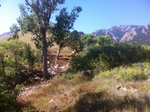 Table Mesa drainage being fixed by backhoes and cats
