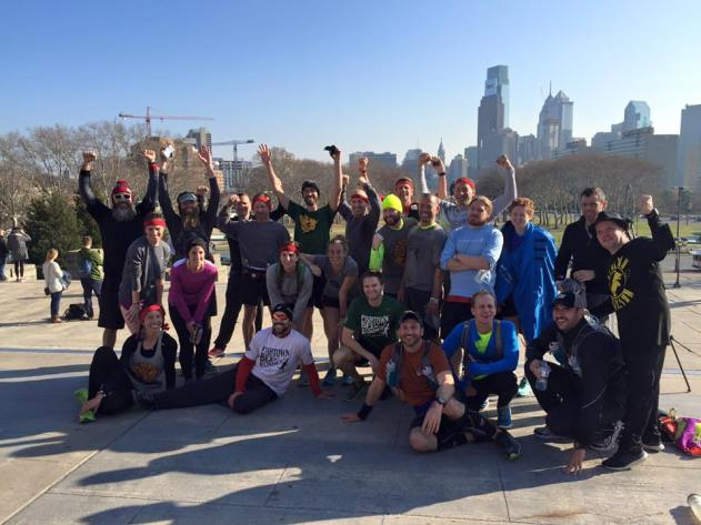 Several of the runners on the Rocky Steps - Rocky 50k