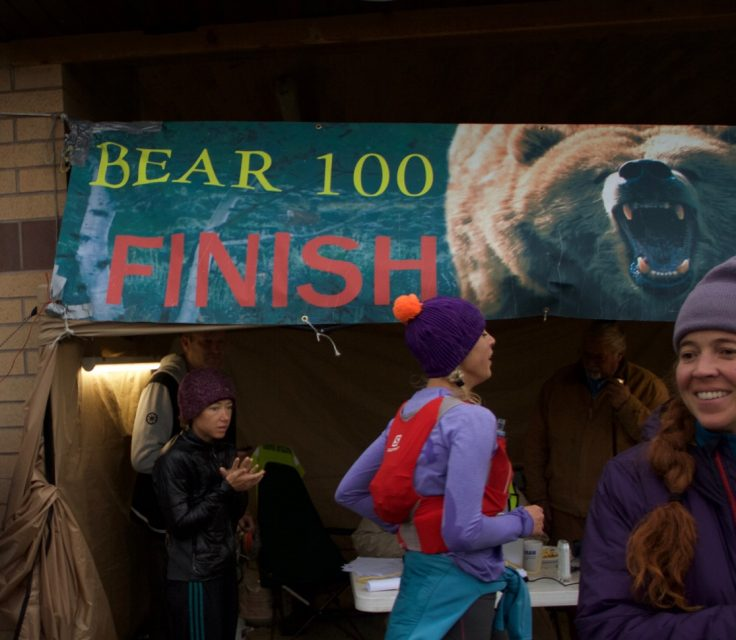 Chelsea Hathaway crosses the finish line at the 2016 Bear 100, 3rd place female