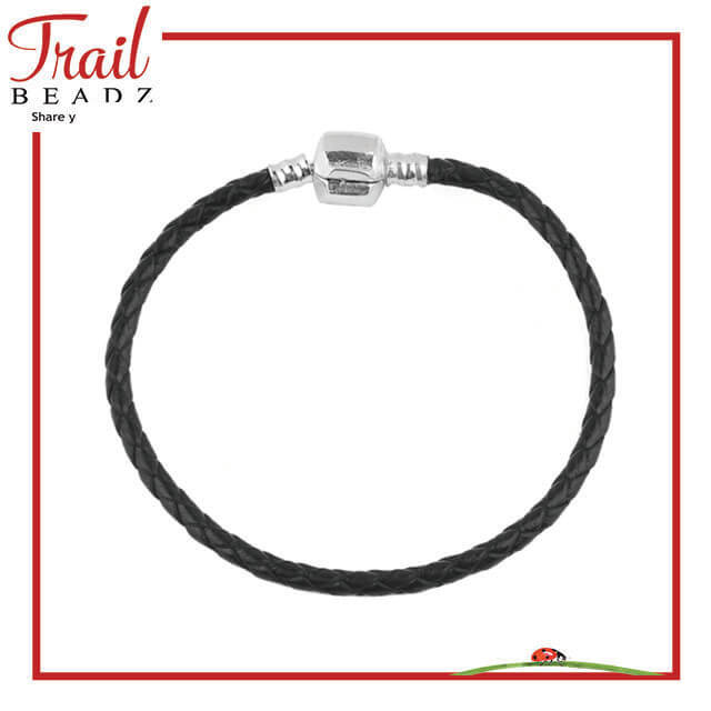 Trail Beadz Black Leather Logo Bracelet