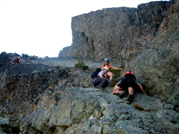Downclimbing To East Ledge