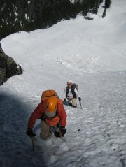 Fay and Mike Climbing NW Couloir