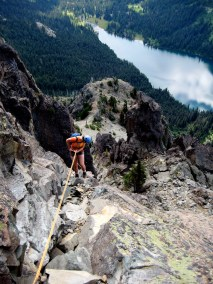 Eileen rappelling off Cathedral Rock