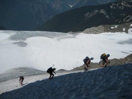 Climbing up Hagan Glacier