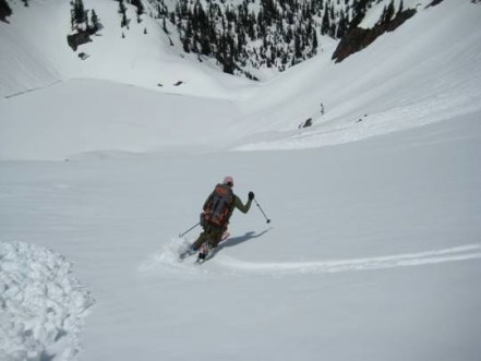 Mark Skiing Down To Chair Peak Lake