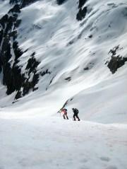 Eileen and Kevin ascending the lower Katsuk Glacier