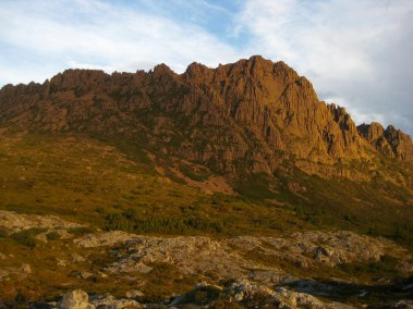 Evening Alpenglow On Cradle Mtn From Camp 1