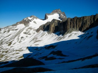Camp & Mt Redoubt From Hard Mox Traverse