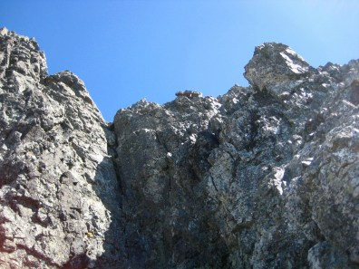 Looking Up At Third Summit Pitch Of Hard Mox Peak
