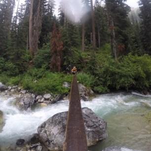 Crossing Park Creek On Wet Footlog (photo by Jon)
