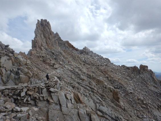 The narrow trail on Whitney's south ridge