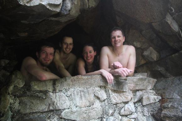 Enjoying the hot springs sure is a grand reward!