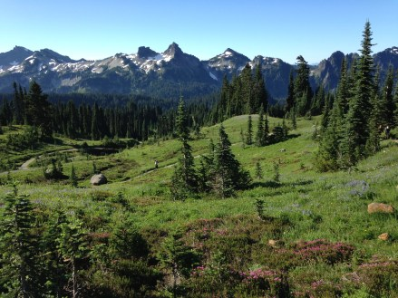 On our way up with fabulous Tatoosh views