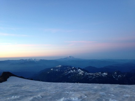 Watching the sunrise over Mt Adams