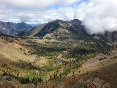 Looking down into the basin behind Earl Peak