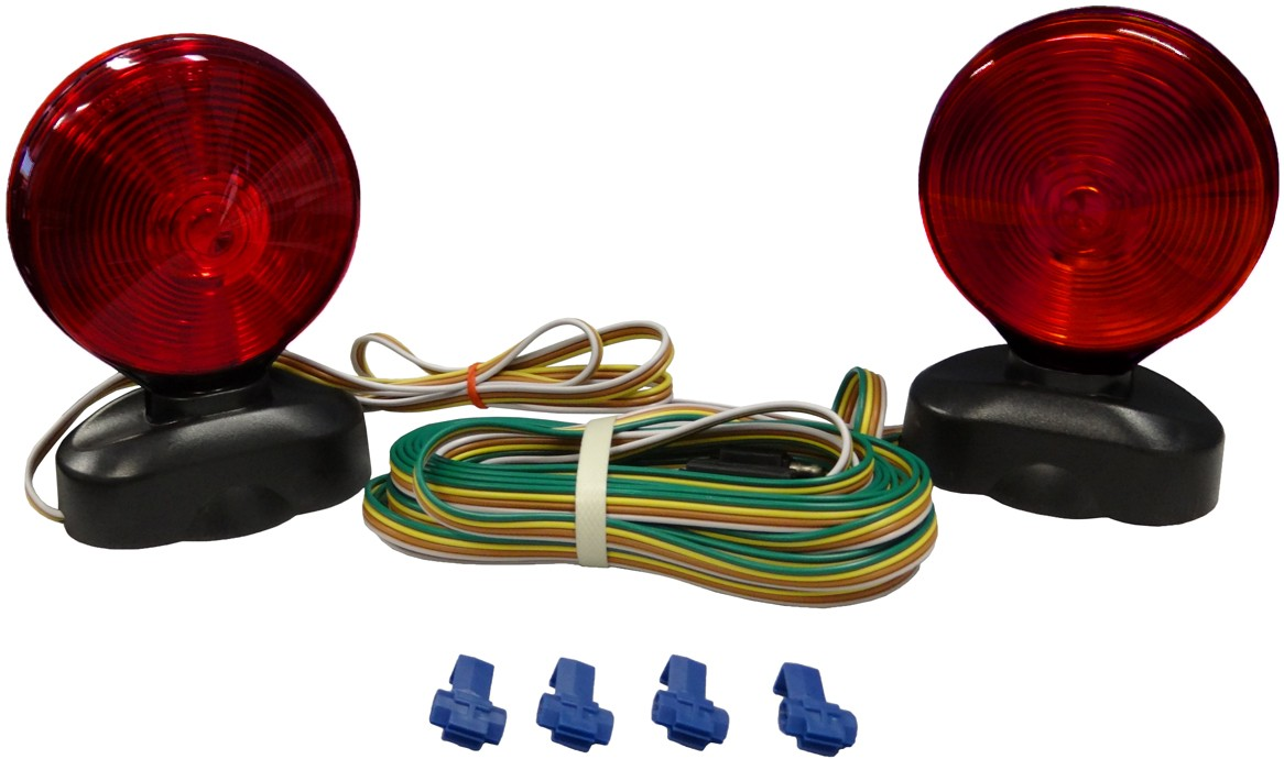 hight resolution of auxiliary tow light kit with two double face incandescent red amber stop tail and turn lights with magnetic base trunk connector and 20 trailer harness