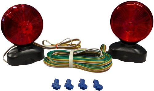 small resolution of auxiliary tow light kit with two double face incandescent red amber stop tail and turn lights with magnetic base trunk connector and 20 trailer harness