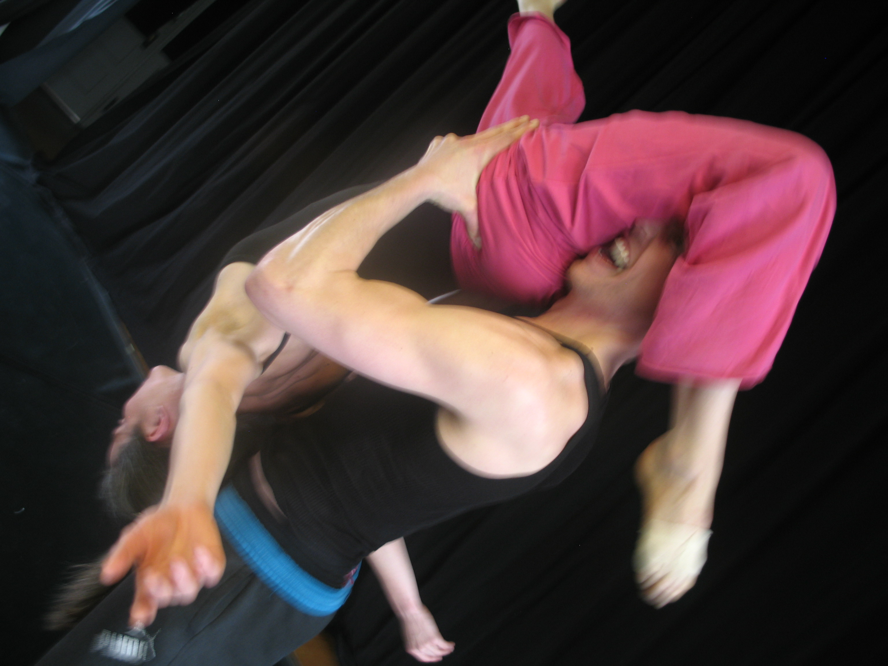 Rachel Bunting and Jeremy Blair in rehearsal for Hati-Hati.