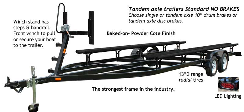 PT24-T or 26 Tandem Axle Pontoon Trailer No Brake Features