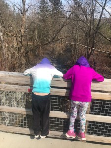 Two children looking over the rail of a trail bridge