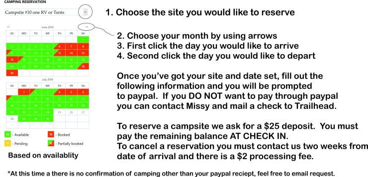 procedures to make reservation booking calendar
