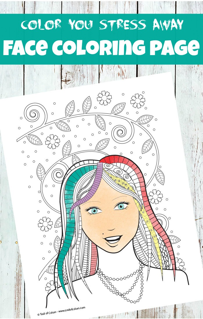 Face Coloring Page For Adults Trail Of Colors