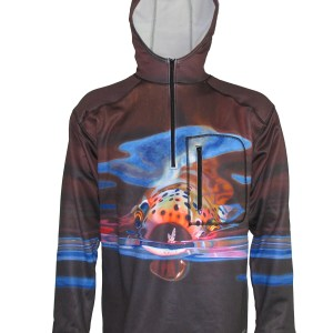 Mayfly Snack 1/4-Zip FlexFleece Fish Adventure Hoodie Rainbow Trout feeding on a mayfly are exciting days on the river