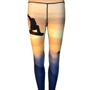 Snowboarder Yoga Leggings create the airborne feel of the day flying through powder down the the mountain or as running clothes for the trail.
