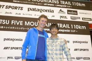 信越五岳トレイルランニングレースで石川弘樹さんと再開したスコット・ジュレク。