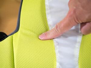 背中に当たる部分は柔らかく肌触りのよいクッション。
