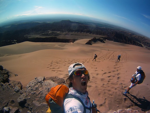 Roger Hanney excited about running down a 400-metre sand dune in the Valley of Death, Atacama