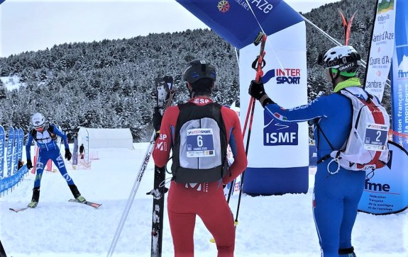 Lenzi and Jornet wait for Eydallin as third to cross line. Photo: ISMF