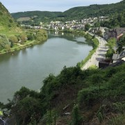 birds-eye view of the Moselle bike path on both sides of the river
