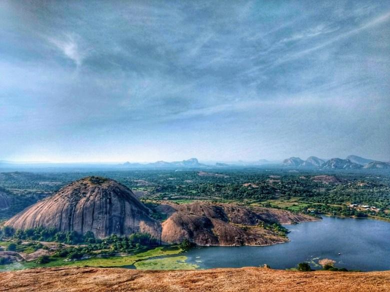 Lake and Boulders Near SRS Hills Ramanagara