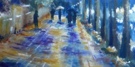 A painting in blues, purples and golds of a street scene at night in the rain.