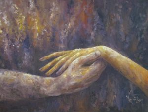 A painting of a woman's hand being held by a man's hand. Colors of purple and gold.