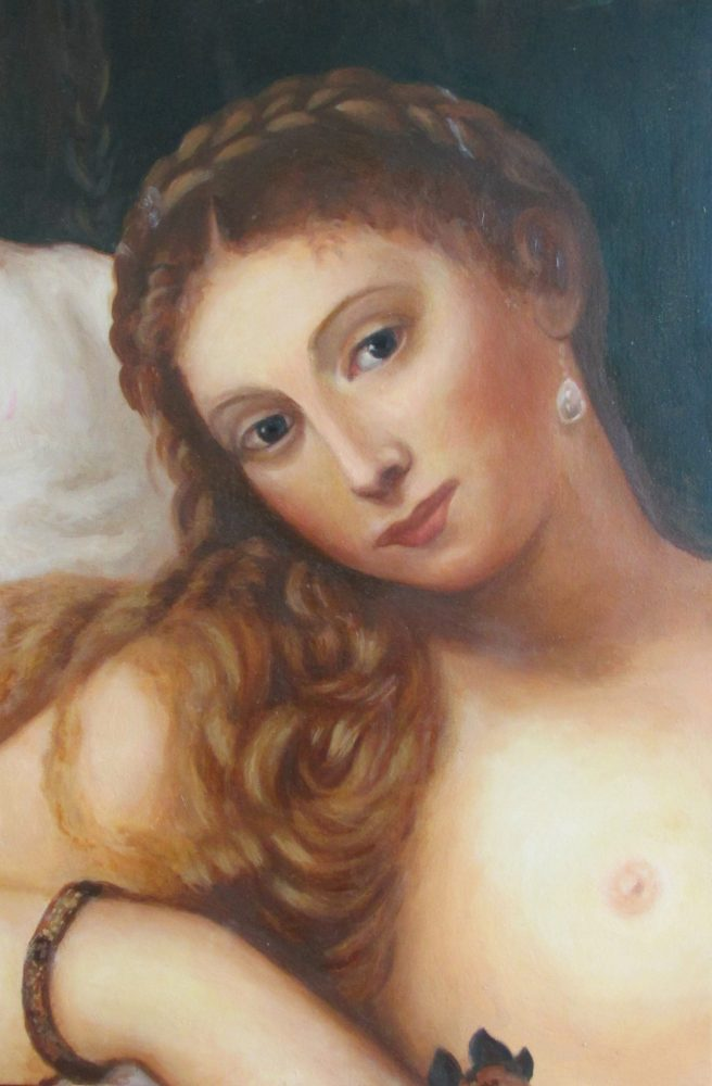 "Fragment copy of <a href=""https://en.wikipedia.org/wiki/Venus_of_Urbino""><i>Titian's Venus of Urbino</i></a>"