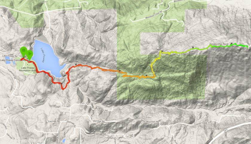 Mt. Woodson and Potato Chip Rock from Lake Poway