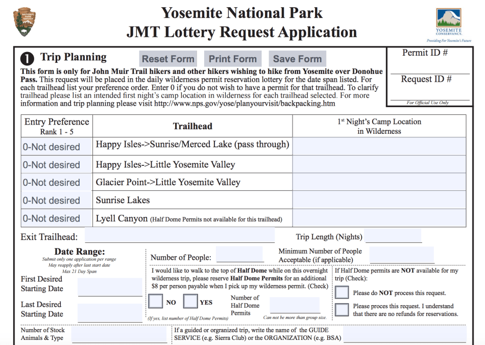 How To Apply For A John Muir Trail Permit Trail To Peak