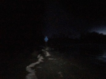 It's tricky to find the edge of the waves in complete darkness.
