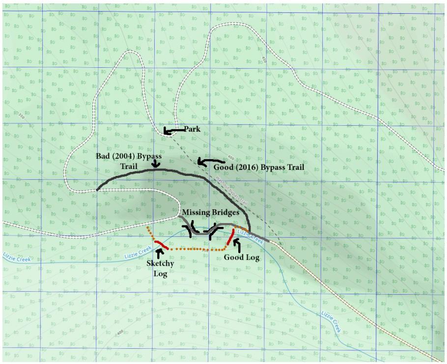Lizzie Creek Bypass Trail Map