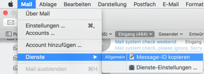 Message-ID kopieren in Mail