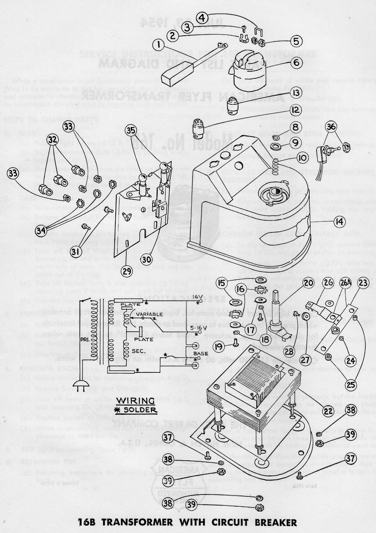 American Flyer Transformer 16b Parts List Amp Diagram