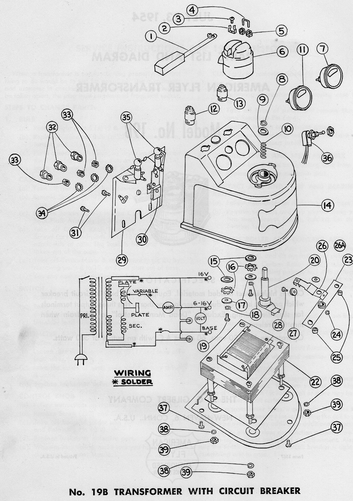hight resolution of american flyer transformer 19b parts list and diagram page 2