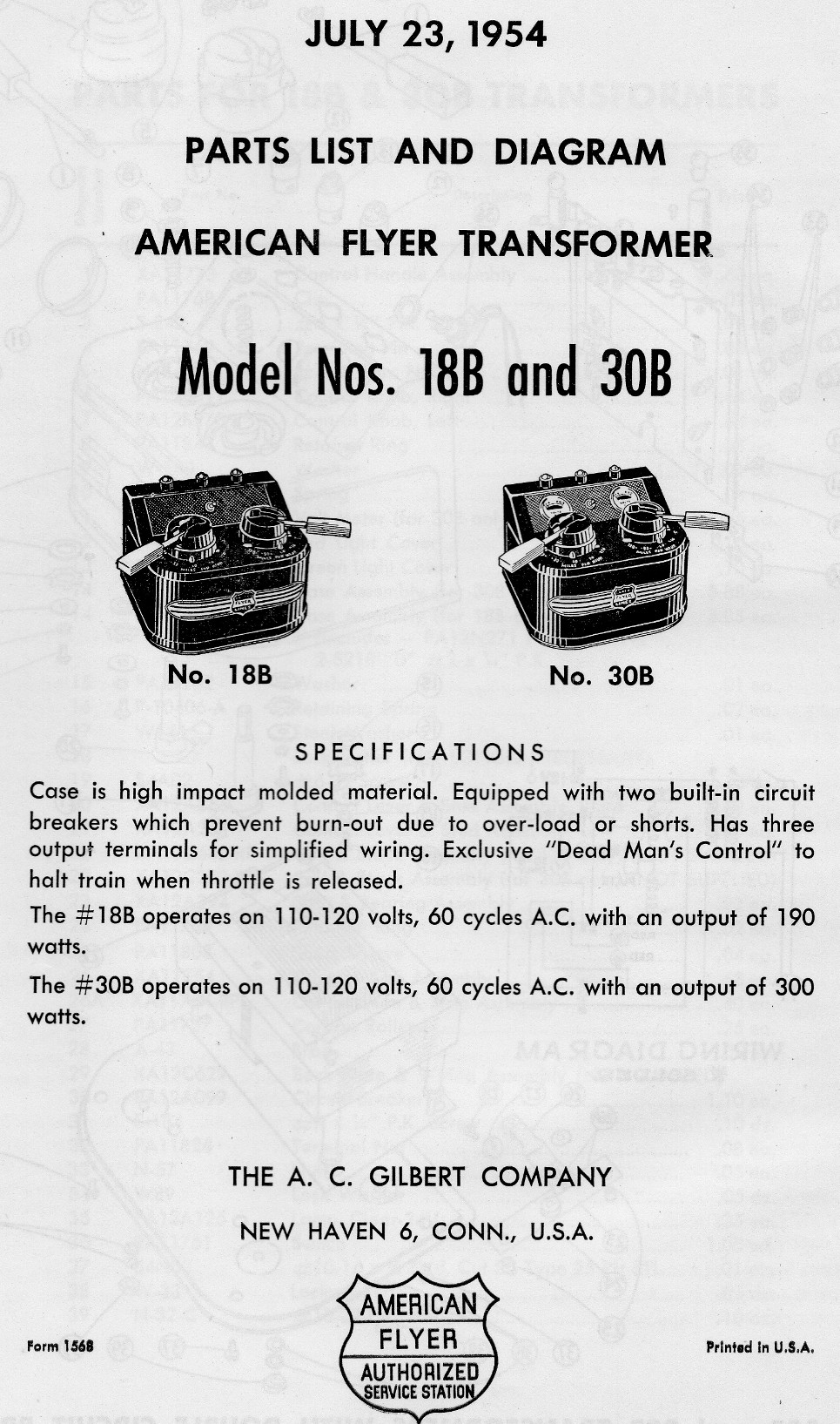 hight resolution of american flyer transformer no 18b 30b parts list and diagram page 1